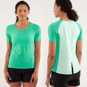 Lululemon Silver Lining Short Sleeve Run Tee Green